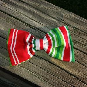 Christmas Stripes Fabric Hair Bow