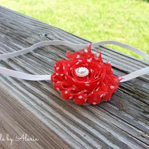 Red Shabby Flower Stretch Headband