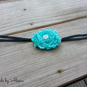 Turquoise Shabby Flower Stretch Hea..