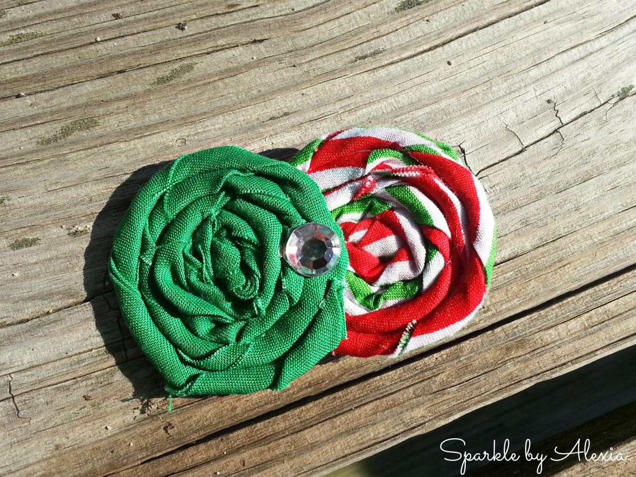 Christmas Fabric Rosette Hair Clip