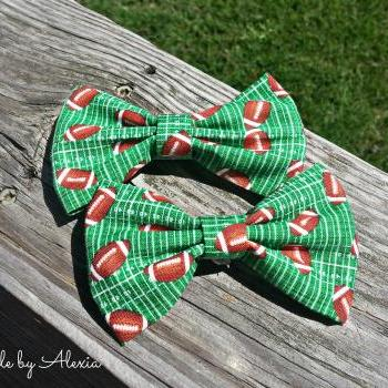 Football Fabric Hair Bow or Boys Bow Tie
