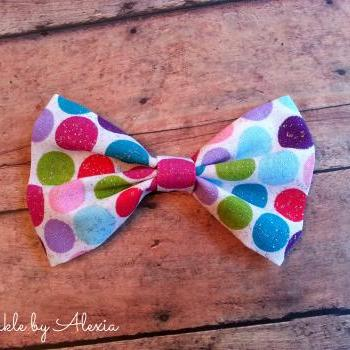 Glitter Polka Dot Fabric Bow Tie Hair Bow